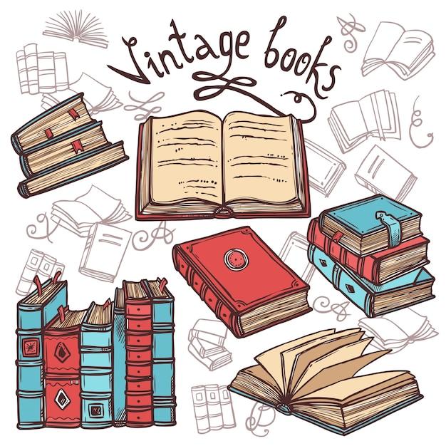 Conjunto de libros de bosquejo vector gratuito
