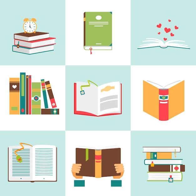 Conjunto de libros en diseño plano. literatura y biblioteca, educación y ciencia, conocimiento y estudio vector gratuito
