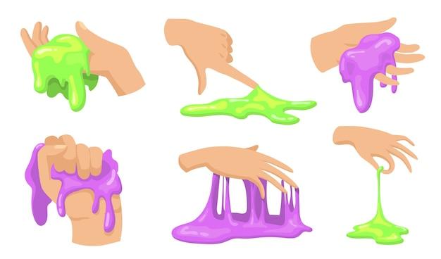 Conjunto de limo colorido. manos humanas tocando, sosteniendo y tomando divertidos juguetes viscosos caseros para niños. vector gratuito