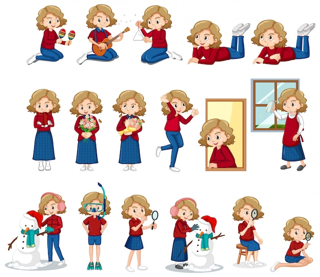 Conjunto de linda chica haciendo diferentes actividades vector gratuito