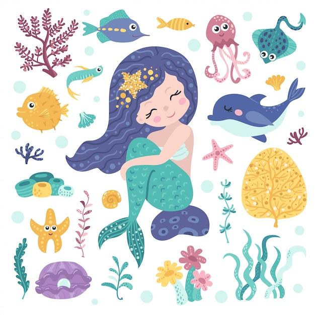 Conjunto de linda sirena, algas y habitantes marinos. Vector Premium