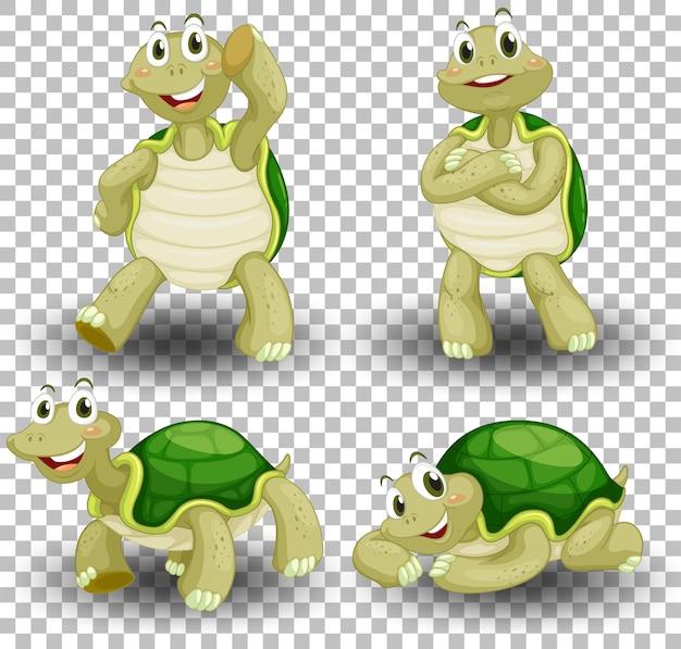 Conjunto de linda tortuga en transparente vector gratuito