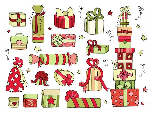 Conjunto de lindas cajas de regalos para tu celebración de invierno Vector Premium