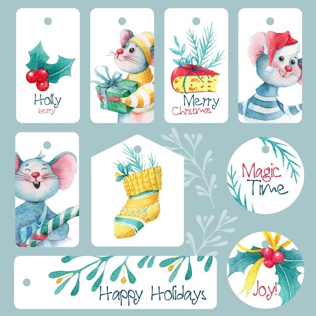Conjunto de lindas etiquetas navideñas con ratones y decoraciones Vector Premium