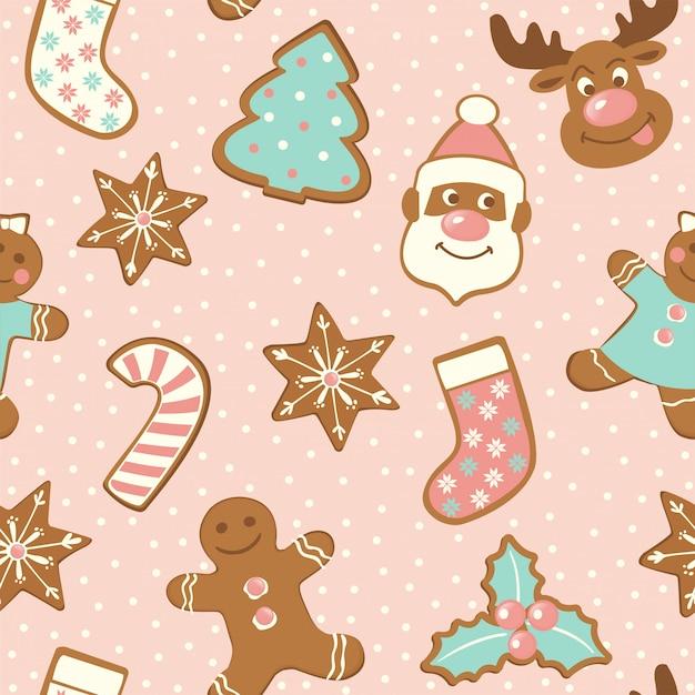 Conjunto de lindas galletas de jengibre para navidad. Vector Premium