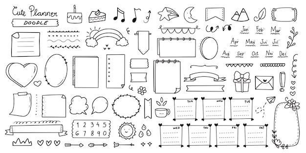 Conjunto de lindo conjunto de doodle de notas de diario de bala Vector Premium