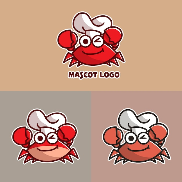 Conjunto de lindo logotipo de mascota cangrejo chef con apprearance opcional. Vector Premium