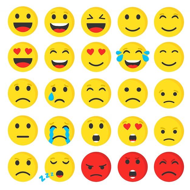 Conjunto de lindo smiley emoji plano, ilustración vectorial. Vector Premium