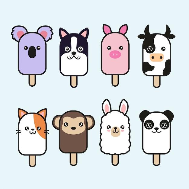 Conjunto lindo del vector del helado animal Vector Premium