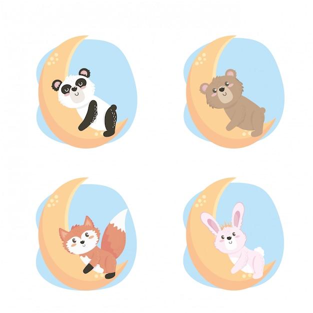 Conjunto de lindos animales salvajes en la luna. vector gratuito