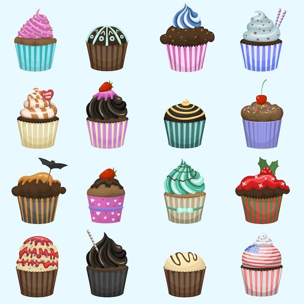 Conjunto de lindos cupcakes y muffins. Vector Premium