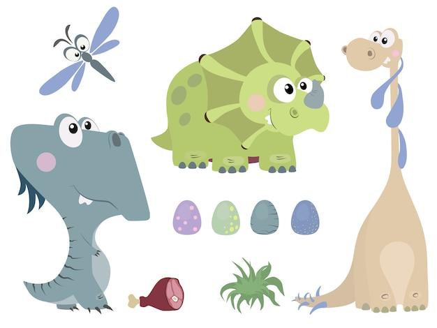 Conjunto de lindos dinosaurios en estilo de dibujos animados Vector Premium