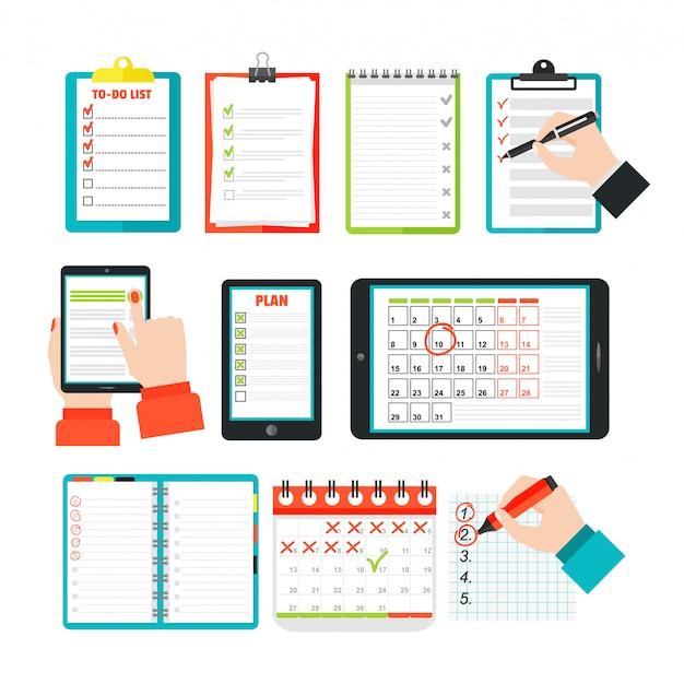Conjunto de lista de agenda Vector Premium