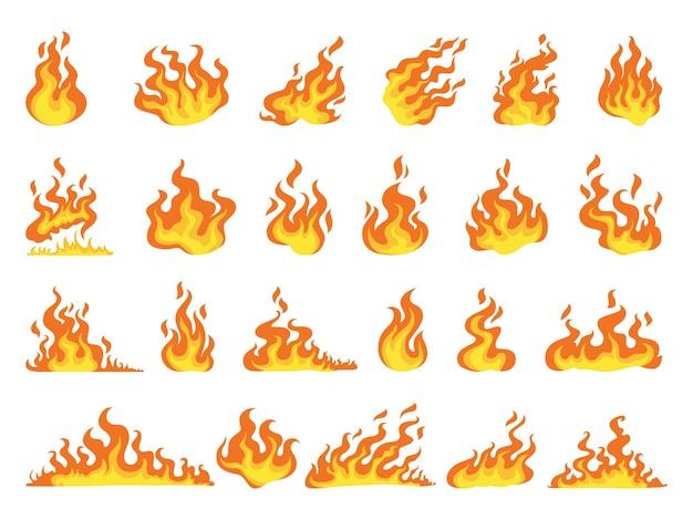 Conjunto de llama de fuego rojo y naranja Vector Premium