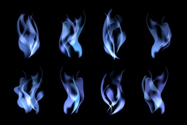 Conjunto de llamas azules vector gratuito