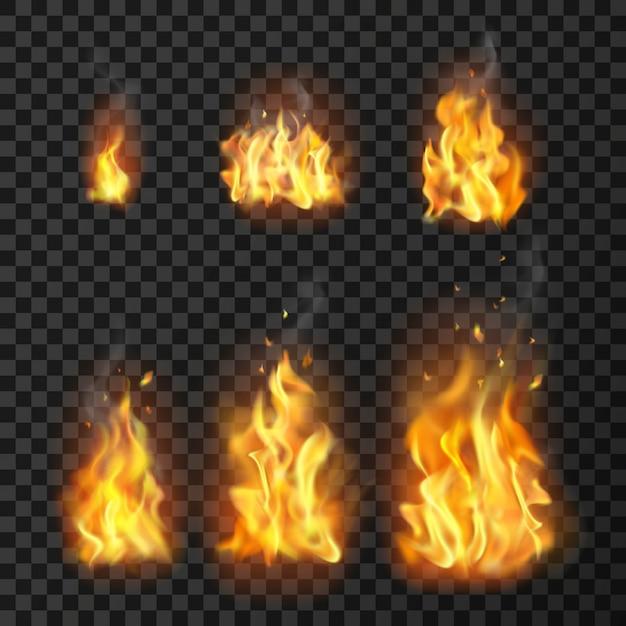 Conjunto de llamas de fuego realista vector gratuito