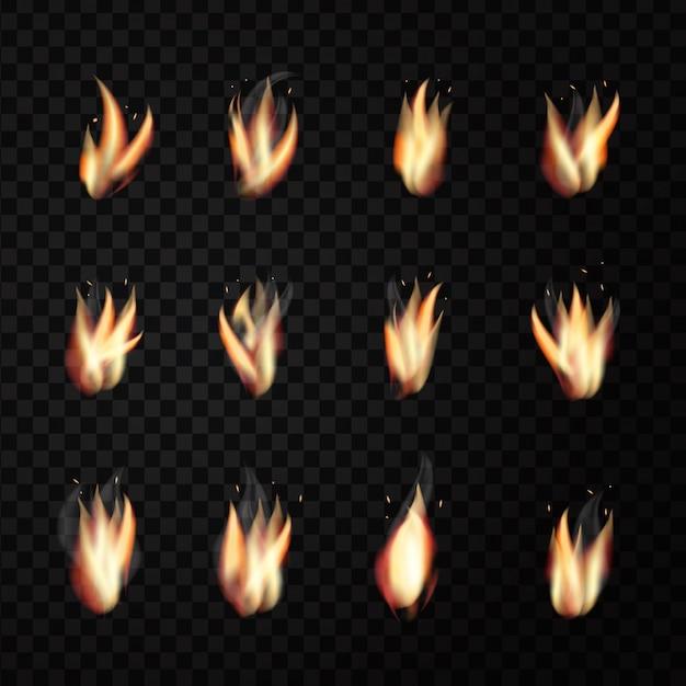Conjunto de llamas de fuego realistas en el fondo transparente para decoración. Vector Premium