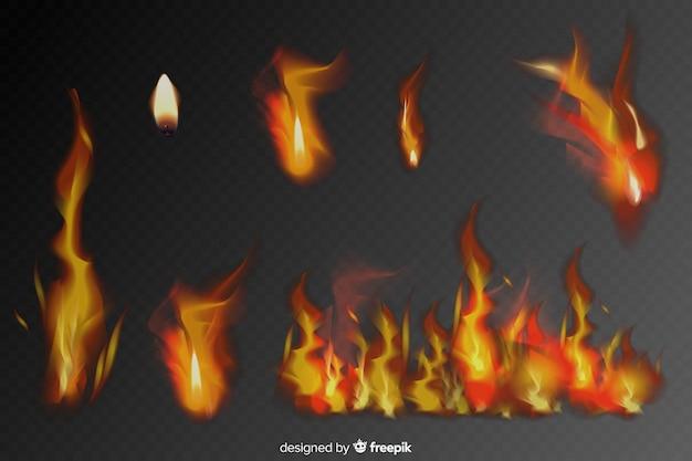 Conjunto de llamas de fuego realistas vector gratuito