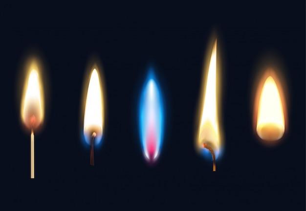 Conjunto de llamas realistas de velas de fósforos y una ilustración aislada más ligera vector gratuito