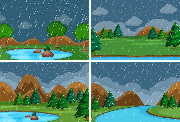 Conjunto de lloviendo en el parque. vector gratuito