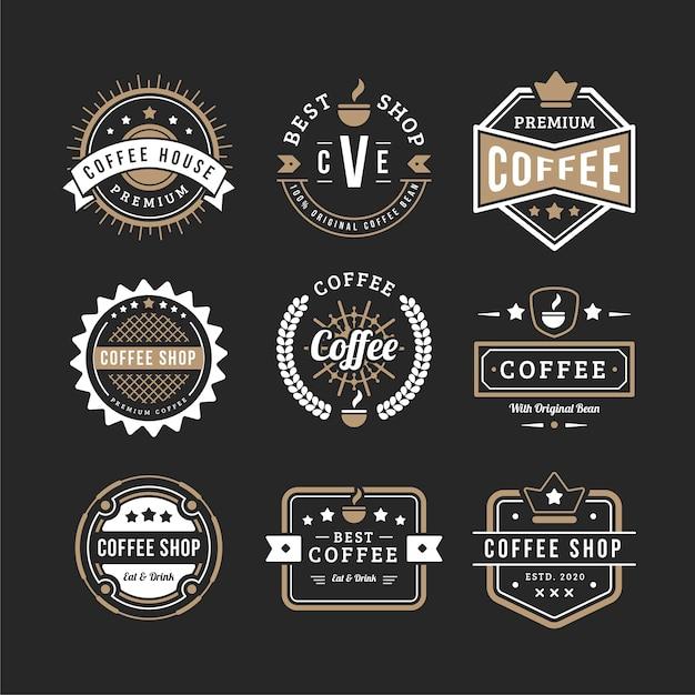 Conjunto de logo de café vintage vector gratuito