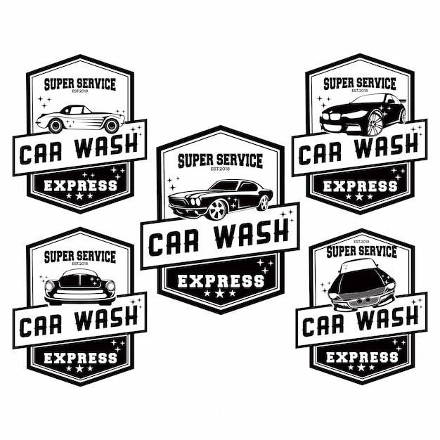 Conjunto de logo car wash Vector Premium