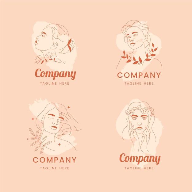 Conjunto de logo de cosmética natural. Vector Premium