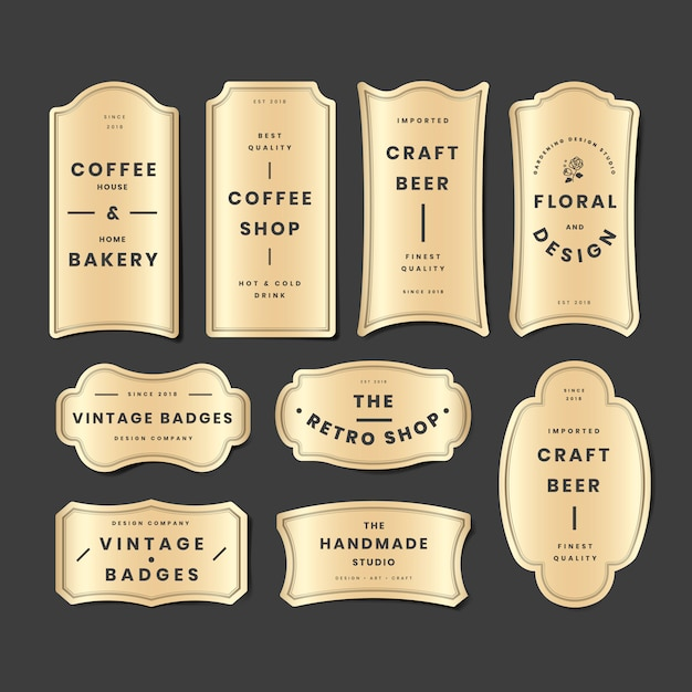 Conjunto de logo dorado vintage vector gratuito