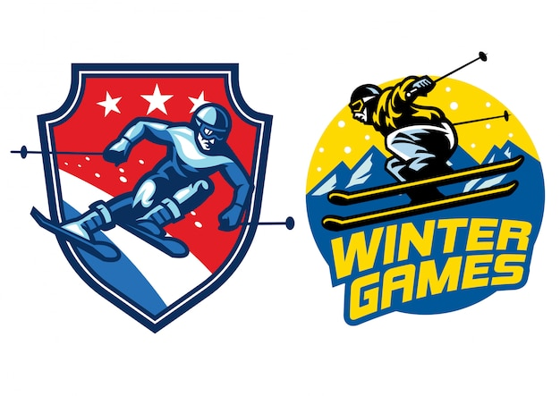 Conjunto de logo de esquí Vector Premium