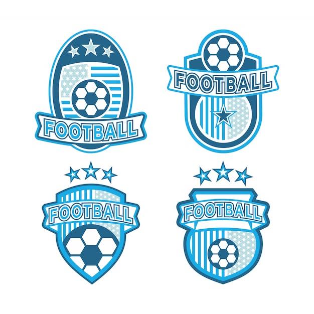 Conjunto de logo de futbol Vector Premium