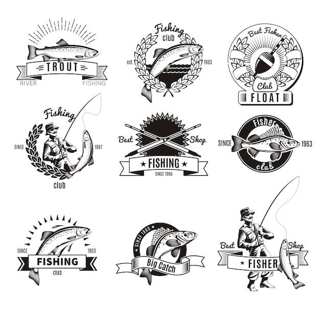 Conjunto de logo de pesca vintage vector gratuito
