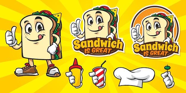 Conjunto de logo de sandwich de dibujos animados Vector Premium