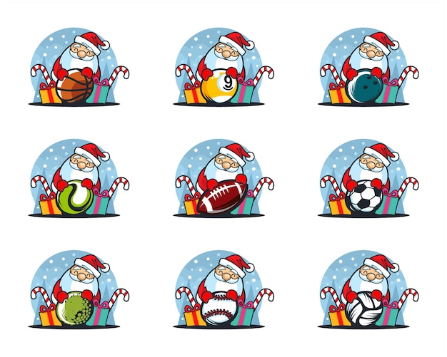 Conjunto de logo de tema navideño de pelota deportiva Vector Premium