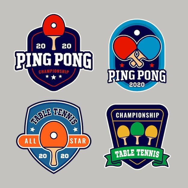 Conjunto de logo de tenis de mesa Vector Premium