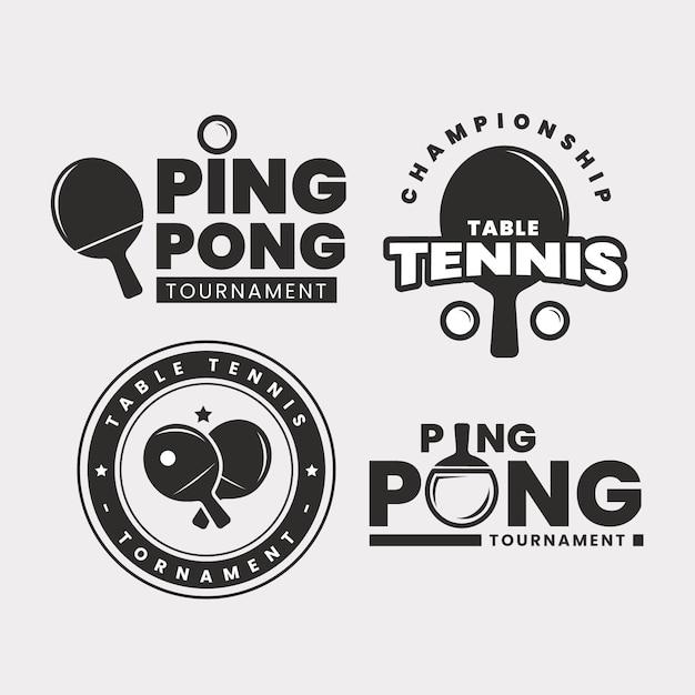 Conjunto de logo de tenis de mesa vector gratuito
