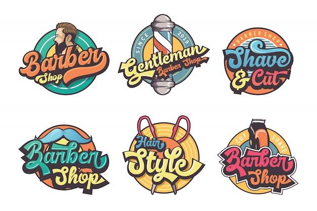 Conjunto de logo vintage barber shop Vector Premium