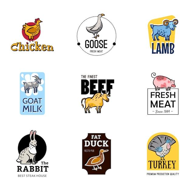 Conjunto de logos de comida vector gratuito