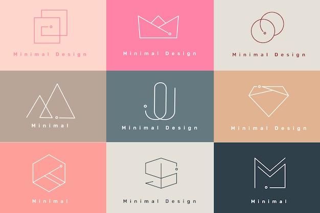 Conjunto de logos mínimo vector gratuito