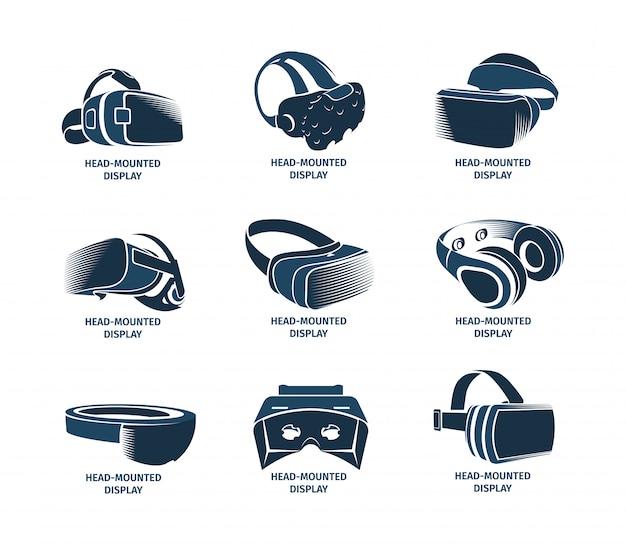 Conjunto de logotipo de auriculares vr aislado. logotipo de casco de realidad virtual. colección de iconos de pantalla montada en la cabeza. dispositivo. elemento de juego futurista. ilustración de smartglasses de simulación. Vector Premium