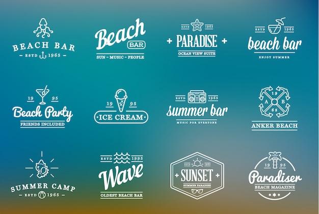 Conjunto de logotipo de beach sea bar Vector Premium
