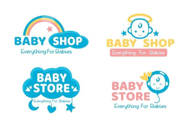 Conjunto de logotipo de bebé lindo Vector Premium