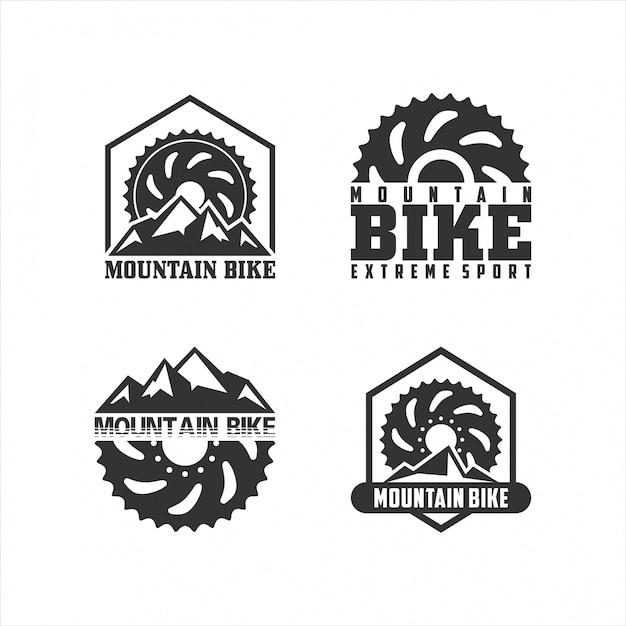 Conjunto de logotipo de bicicleta de montaña Vector Premium