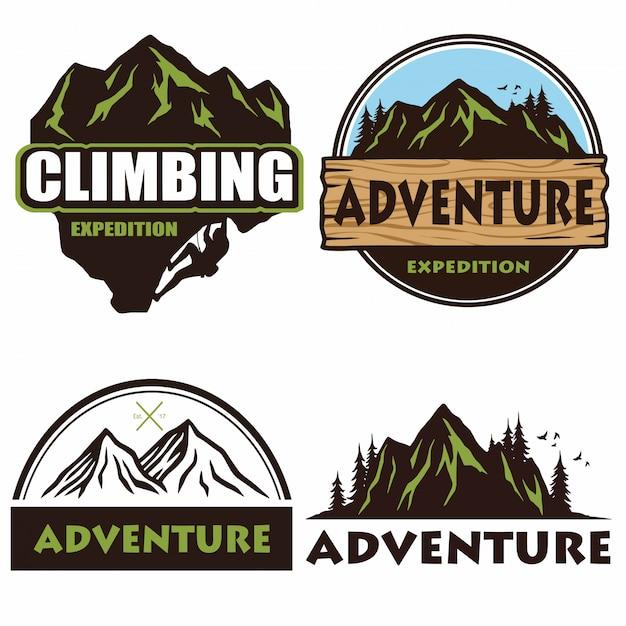 Conjunto de logotipo de camping Vector Premium