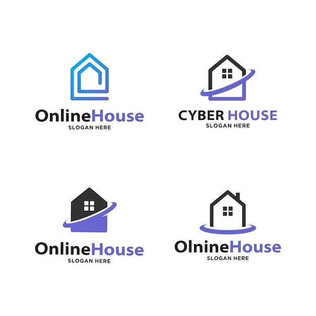 Conjunto de logotipo de casa inteligente Vector Premium
