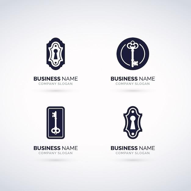 Conjunto de logotipo de cerradura de puerta Vector Premium