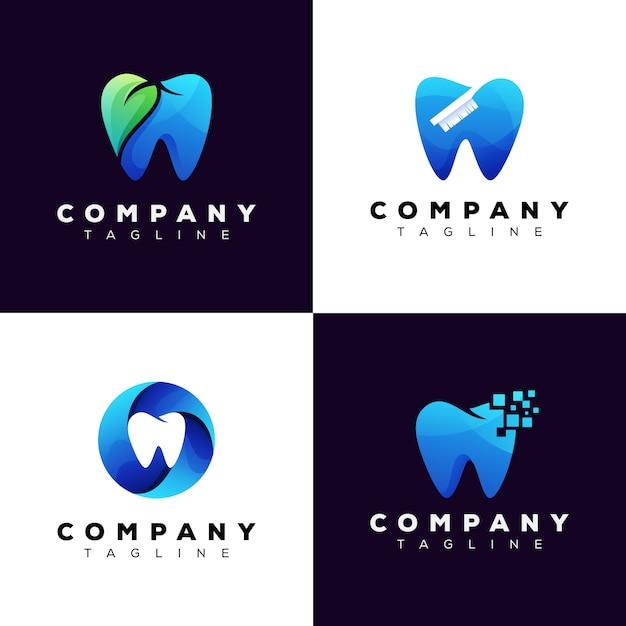 Conjunto de logotipo de clínica dental de colección, paquete de logotipo de diente Vector Premium
