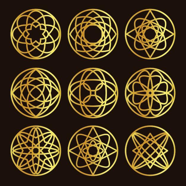 Conjunto de logotipo de color dorado de forma redonda abstracta aislada Vector Premium