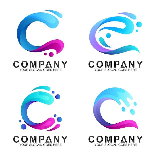 Conjunto de logotipo de combinación de onda letra c Vector Premium
