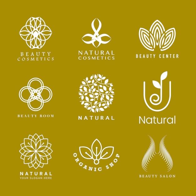 Conjunto de logotipo de cosmética natural. vector gratuito