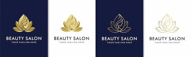 Conjunto de logotipo creativo dorado salón de belleza spa Vector Premium
